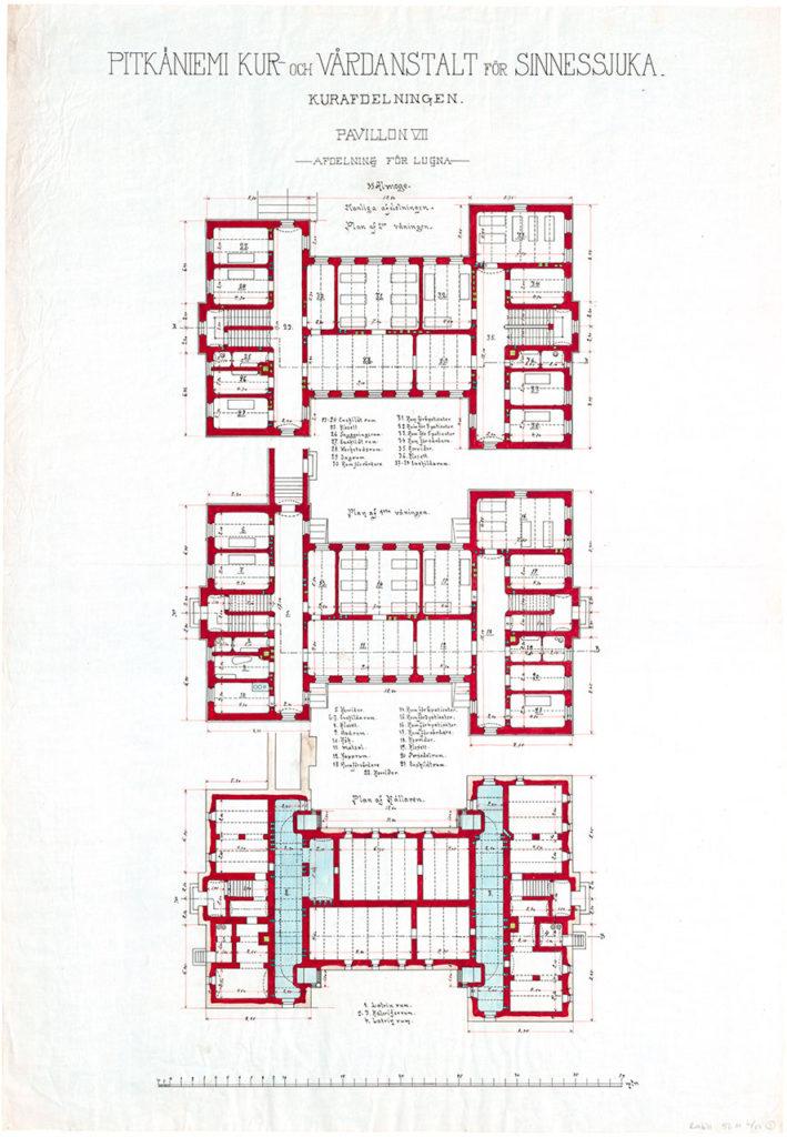 Epäsymmetrisen paviljongin rakennuspiirustus 1800-luvun lopulta.