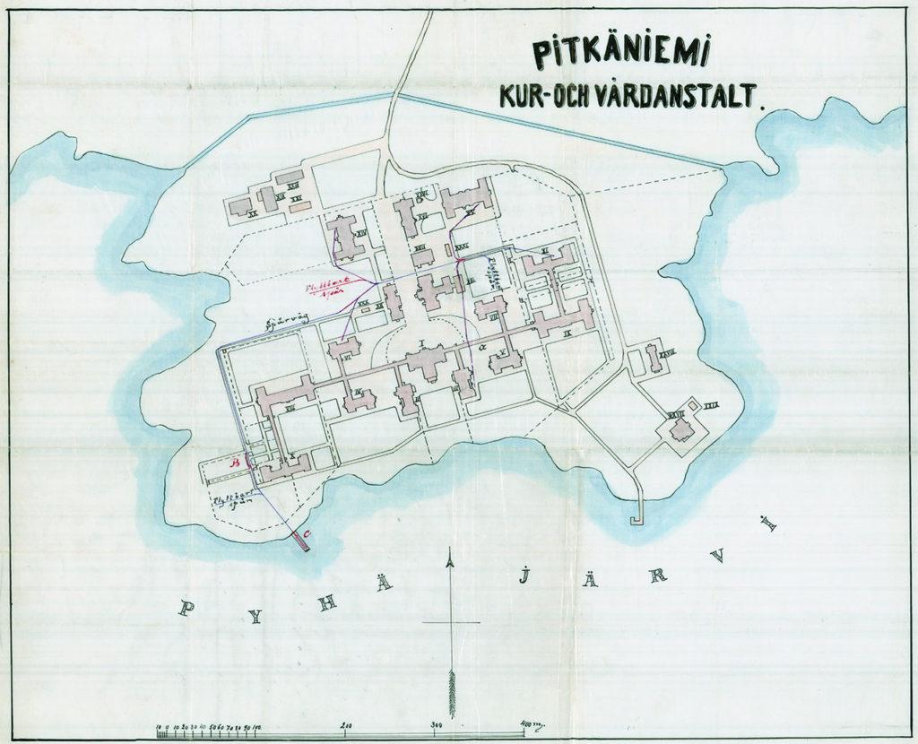 Pitkäniemen sairaalan kartta 1900-luvun alusta.